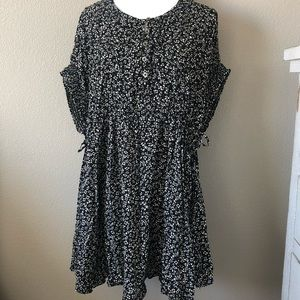 Free People Floral black comb scoop mini dress NWT